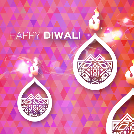 jain: Decorative Paper Diwali Diya - Oil Lamp Design. Vector illustration - eps10
