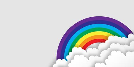 applique: Stylized paper cutout clouds and rainbow. Vector applique. Illustration