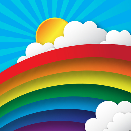 Abstract applique - paper rainbow. Stylized paper cutout clouds and rainbow. Vector illustration. Ilustrace