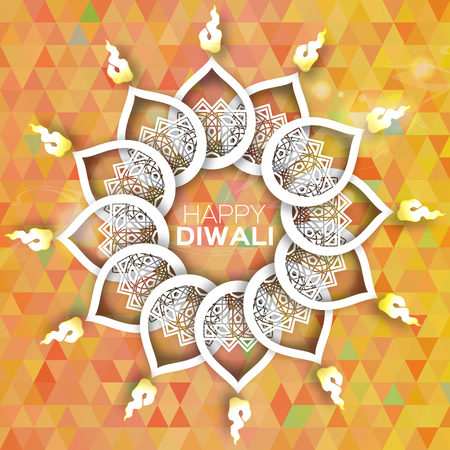 oil lamp: Decorative Paper Diwali Diya - Oil Lamp Design. Vector illustration - eps10