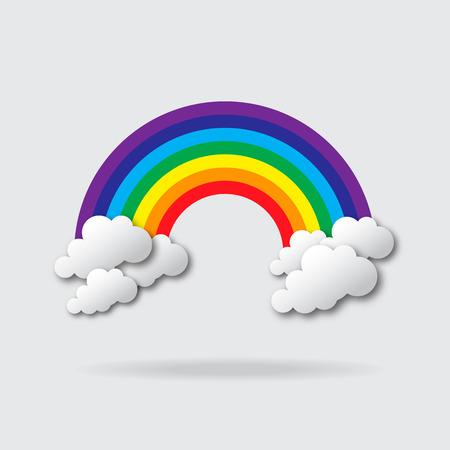 arc en ciel: Stylisés papier découpées nuages ??et arc en ciel. Vector applique. Illustration