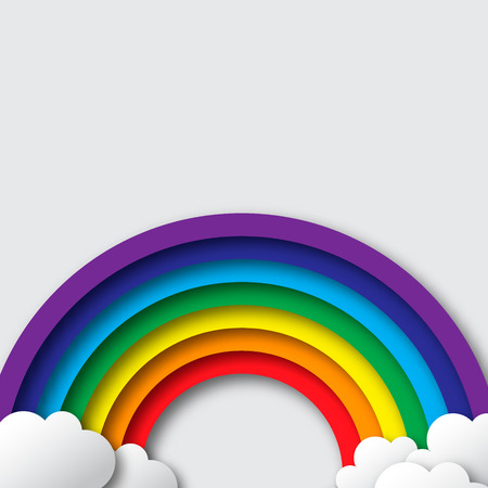 Stylized paper cutout clouds and rainbow. Vector applique. Stock Illustratie
