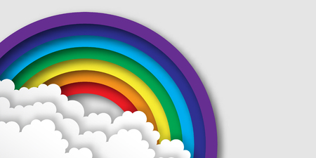 Stylized paper cutout clouds and rainbow. Vector applique. Ilustração
