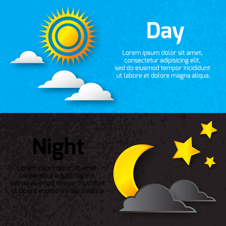 night out: Day and night with sun, stars and moon with shadows. Cut out style. Vector illustration Illustration