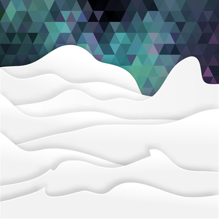 View of white mountains on polygonal background .Mountain landscape. Paper cut style. Illustration
