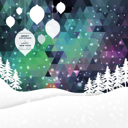 mountain view: View of white mountains on polygonal background with christmas ball and garlands. Mountain landscape. Paper cut style.