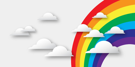 paper cutout: Stylized paper cutout clouds and rainbow. Vector applique. Illustration