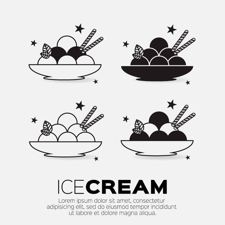 sweetness: Set of Ice Creams. Sweetness mono vector symbols.