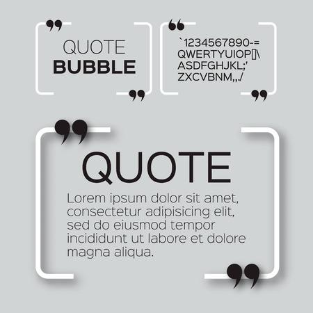 burbuja: Burbuja de cotización. Plantilla de cuadro de texto Cita vacía. Cita en blanco.
