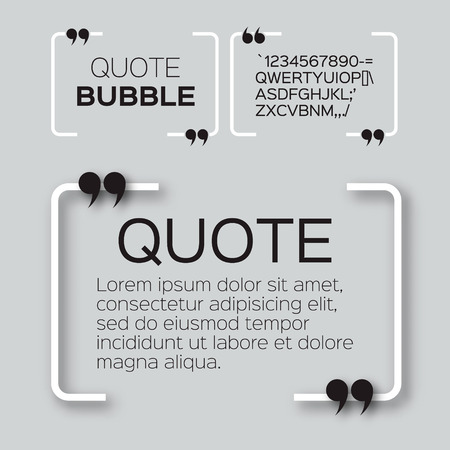 speech marks: Quote bubble. Empty Citation text box template. Quote blank.