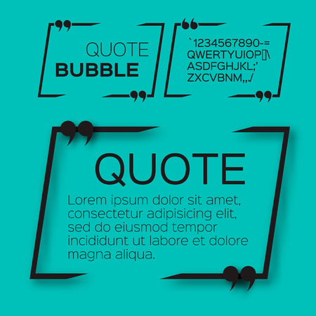 Quote bubble. Empty Citation text box template. Quote blank.