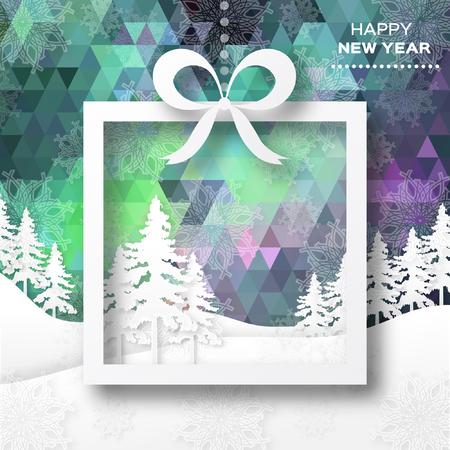 View of white mountains on polygonal background with christmas trees. Mountain landscape. Paper cut style.