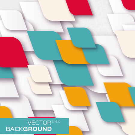 pop up: Geometric abstract background with squares rhombus shapes. Vector illustration eps10. Pop up style. Cut out paper.