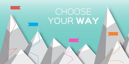 ベクター山フラット フラグ。あなたの選択方法。ミッション。成功の図。トップ ポイント フラグ目標達成。ビジネス コンセプトです。競争の勝利設計を獲得します。