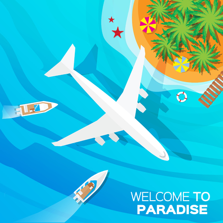 vacation time: Summer vacation, time to travel - sun, sea, waves, sand, airplane, yacht, palm, island. Top view vector  illustration concept. Flat style summer background.
