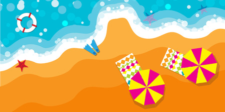 vacation time: Summer vacation, time to travel, beach rest: sun, sea, waves, sand, umbrella, towel, starfish, lifebuoy. Vector background and objects illustrations.
