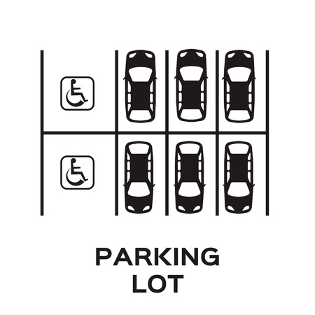 a lot: Top View Parking lot design with wheel chair sign parking spot. Many cars parked. Vector Illustration.