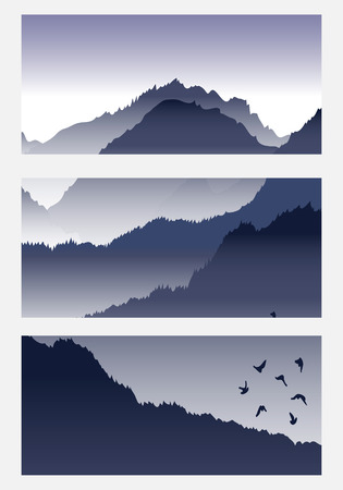 overlook: View of blue mountains with birds and fog. Mountain landscape. Illustration