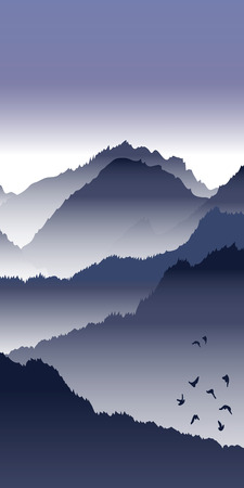 View of blue mountains with birds and fog. Mountain landscape. Illustration