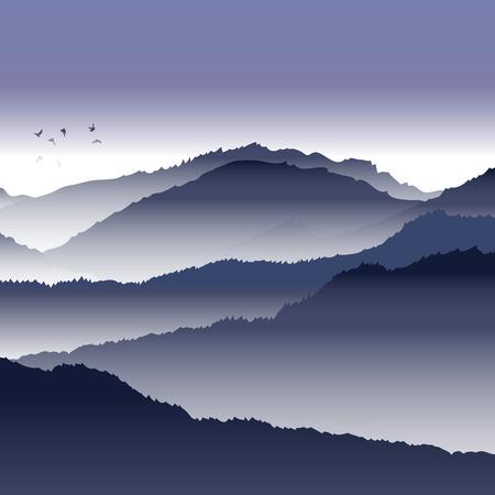 View of blue mountains with birds and fog. Mountain landscape. Illusztráció