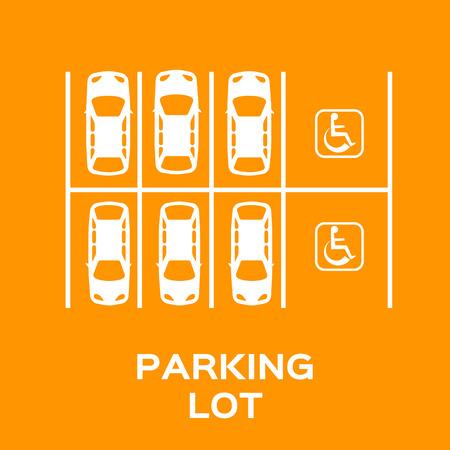 Top View Parkeerplaats ontwerp. Veel auto's geparkeerd. Vector Illustratie.