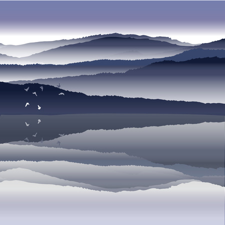 overlook: View of blue mountains reflected in the water.Mountain  landscape.