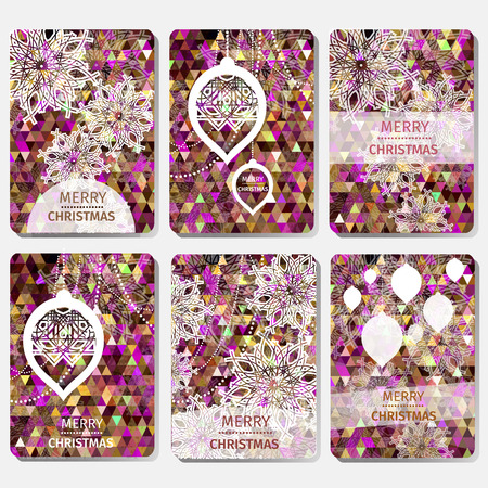 xmas background: Set of 6 Colorful Merry Christmas and Happy New Year polygonal background with snowflakes, paper round ball,garland - tree decorations. Xmas ornaments. Geometric Vector illustration - eps10 Illustration