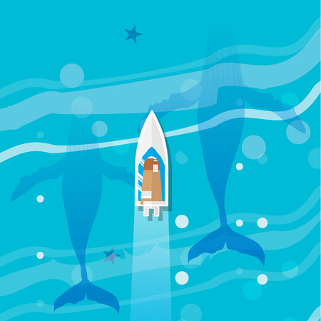 humpback: Ocean underwater life - humpback whale family with top view yacht. Summer vacation, time to travel, holidays and tourism. Vector illustration Illustration