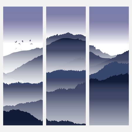 rockies: View of blue mountains with birds and fog. Mountain landscape. Illustration
