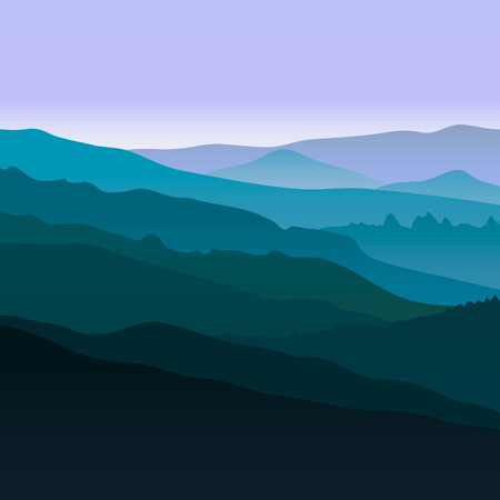 rockies: View of blue mountains. Mountain landscape. Illustration