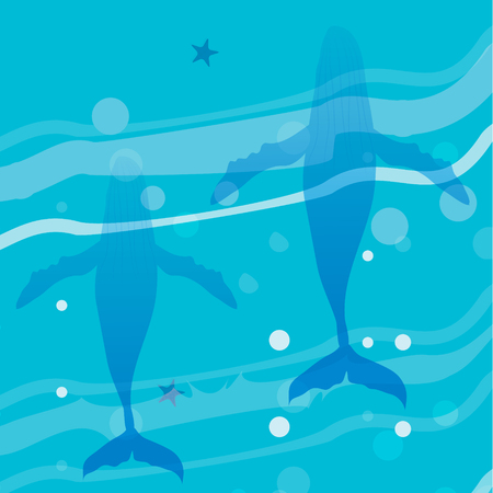 ocean view: Ocean underwater life - humpback whale family with top view yacht. Summer vacation, time to travel, holidays and tourism. Vector illustration Illustration
