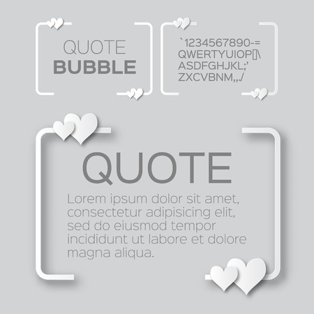 citation: Quote bubble with hearts. Valentines Speech bubble. Paper cut style citation text box template. Applique Quote blank. Text, commas-hearts, quote and note. Motivation and inspiration.