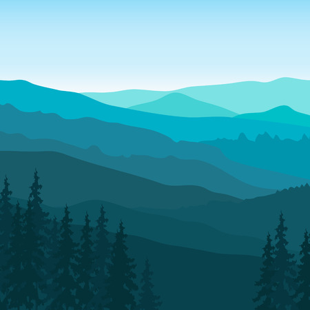 rockies: View of blue mountains with forest. Mountain landscape. Illustration