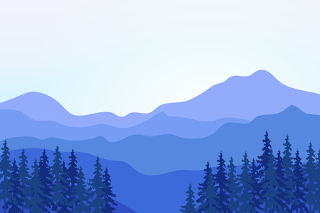 overlooking: View of blue mountains with forest. Mountain landscape. Illustration