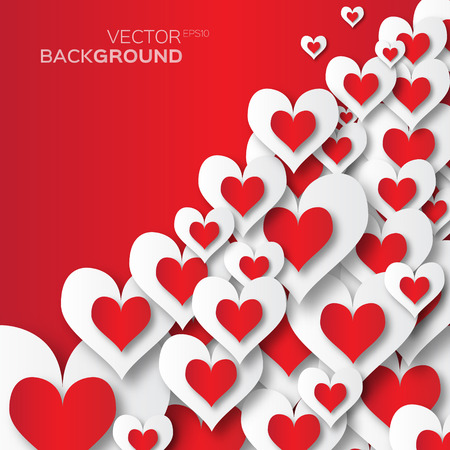 applique: Valentines day abstract applique background with cut red and white paper hearts. Pop up Vector illustration