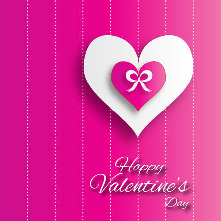 applique: Valentines day abstract applique background with cut paper hearts with bow ribbon . Pop up Vector illustration