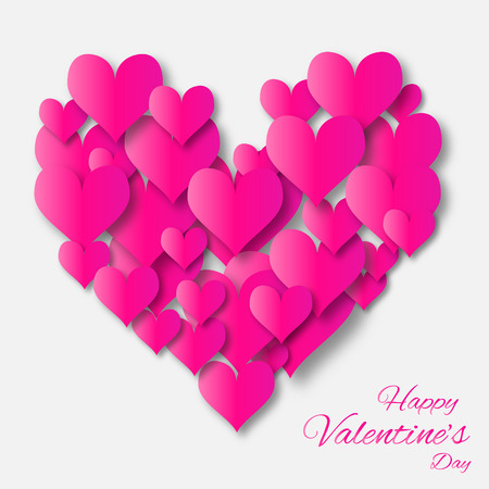 applique: Valentines day applique abstract background with cut pink paper heart. Pop up vector illustration Illustration