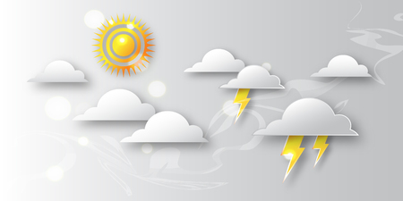 cumulonimbus: Pop up Day with sun and clouds - cumulonimbus and storm. Paper cut style