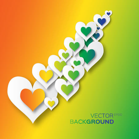 applique: Valentines day abstract applique background with colorful cut paper hearts. Pop up Vector illustration