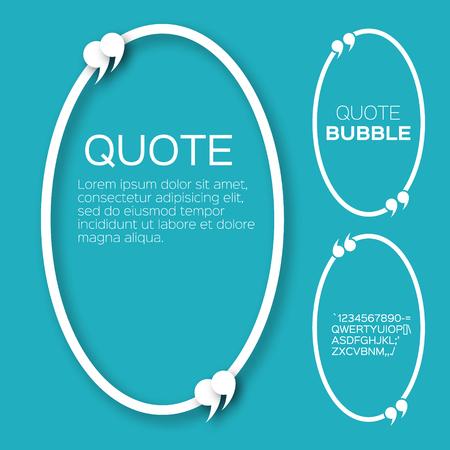 citation: Oval Quote bubble. Speech bubble. Citation text box template. Quote blank. Applique style commas - origami paper cut form Illustration
