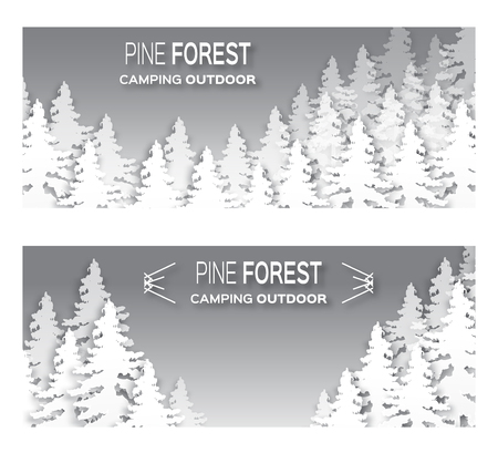 wanderlust: Wild forest background. Origami pine tree. Applique landscape nature. Paper cut style -  wood panorama circle template. Outdoor camping design. Vector illustration Illustration