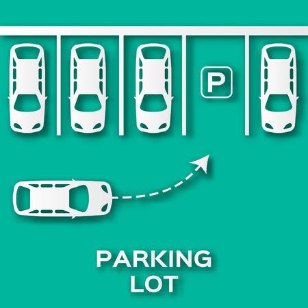 Top View Parkeerplaats papier gesneden ontwerp. Applique stijl veel auto's geparkeerd. Origami Vector Illustratie. Vector Illustratie