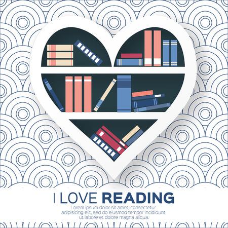 literatura: Estanterías en forma de corazón con libros de colores.