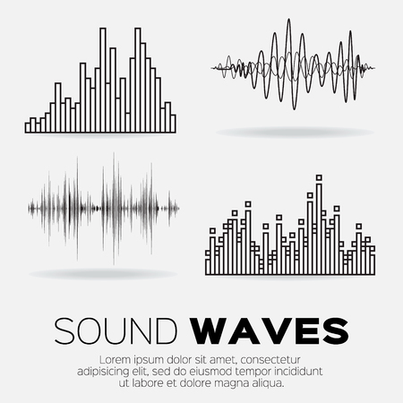 audio electronics: Set of 4 music sound waves. Illustration