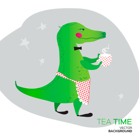 good break: Green Crocodile giving a very good tea party.The Time of Tea Break. Illustration