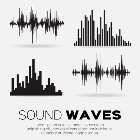 Set of 4 music sound waves. Audio sound equalizer technology, pulse musical. Vector illustration