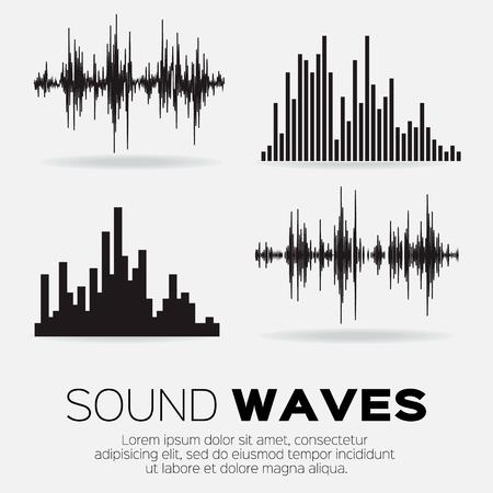 sonido: Conjunto de 4 ondas de sonido de la música. La tecnología de audio ecualizador de sonido, musical pulso. ilustración vectorial Vectores
