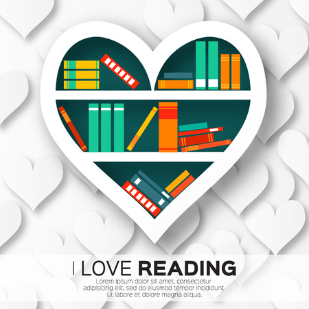 Bookshelves in the form of heart with colorful books. Reading. I love books.  Home library with literature, vector illustration Ilustração