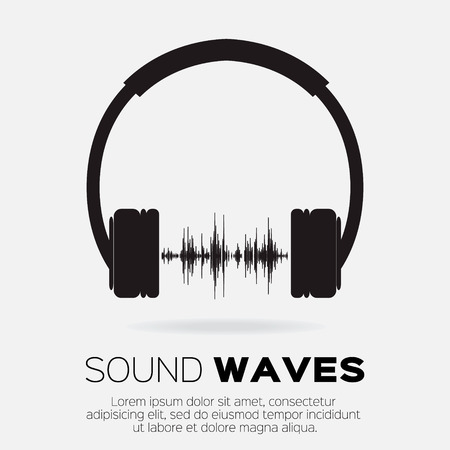 Vector musical dj  style - headphones with sound waves. Music and audio concept design element.