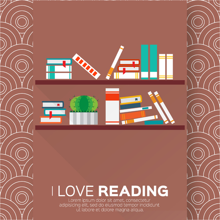 Bookshelves with colorful books. I love books.  Home library with literature, vector illustration Ilustração